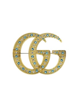 Gucci - Resin Double G Brooch With Crystals - Women