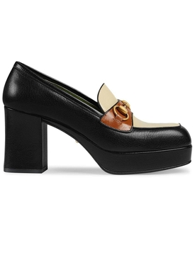 Leather platform loafer with Horsebit