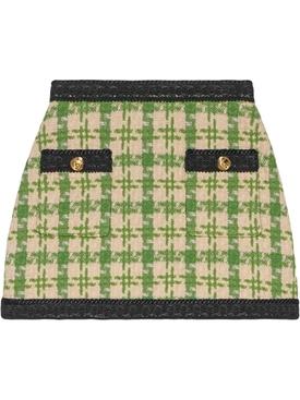 Houndstooth mini skirt GREEN
