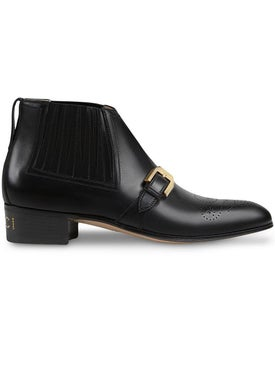 Gucci - Leather Ankle Boot With G Brogue - Women