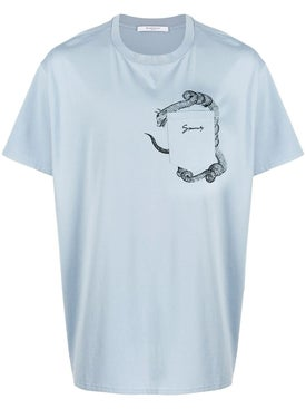 Givenchy - Snake Print Pocket T-shirt Pale Blue - Men