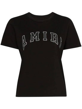 Amiri - College Amiri Logo Print T-shirt Black - Women