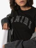 Amiri - College Amiri Logo Print T-shirt Black - Women