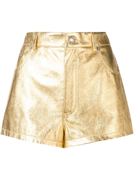 metallic laminated leather shorts