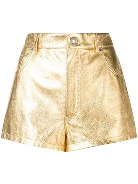 Saint Laurent - Metallic Laminated Leather Shorts - Women