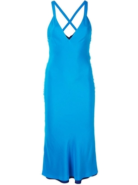 deep V-neck dress BLUE