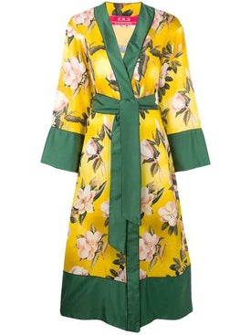 For Restless Sleepers - Floral Print Robe Coat - Women