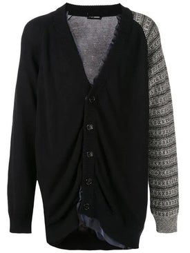 Raf Simons - Cotton Cardigan With Contrast Sleeve Grey - Men