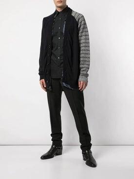 Raf Simons - Cotton Cardigan With Contrast Sleeve Grey - Men