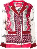 For Restless Sleepers - Printed Satin Shirt Red - Women