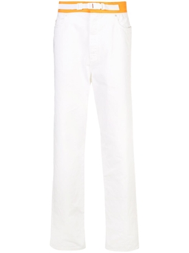 Spliced white denim pants