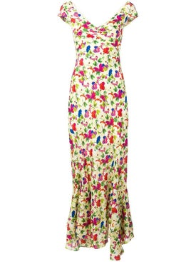Saloni - Lemon Poppies Long Dress - Evening