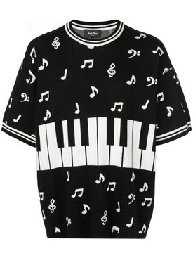 Just Don - Piano Note Short Sleeve Sweater - Sweaters & Knitwear