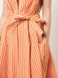 Sara Battaglia - Plunge Neck Striped Dress Orange - Women