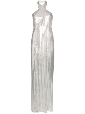 silver sequin halter maxi dress