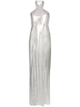 Galvan - Silver Sequin Halter Maxi Dress - Women