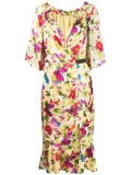 Saloni - Floral Shift Midi Dress Multicolor - Women
