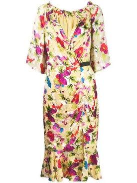 Saloni - Floral Shift Midi Dress - Women