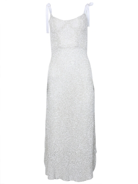 Veronica Sequined Corset Dress White