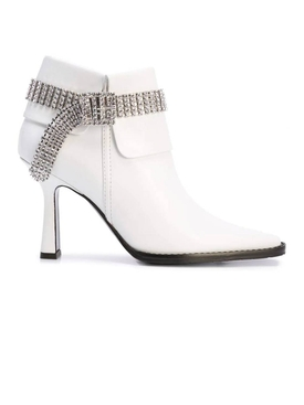 White embellished ankle boot