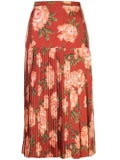Salvatore Ferragamo - Pleated Print Skirt Red - Women