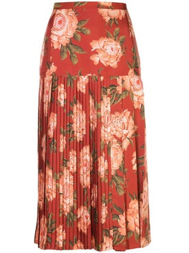Salvatore Ferragamo - Pleated Print Skirt Red - Midi