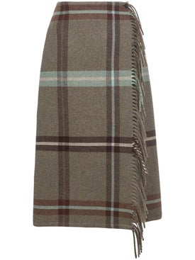 Salvatore Ferragamo - Fringed Check Print Skirt - Women