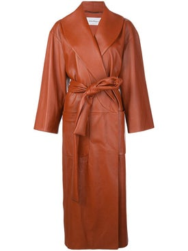 Salvatore Ferragamo - Long Belted Leather Coat - Women
