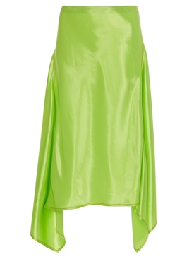 asymmetric draped side panels skirt GREEN