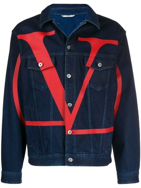 V logo denim jacket