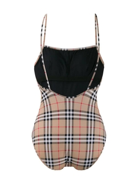 Neutral check print swimsuit