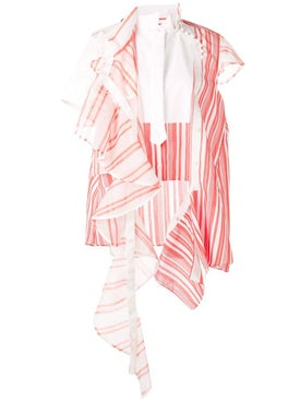 Sacai - Deconstructed Striped Organza Blouse - Blouses