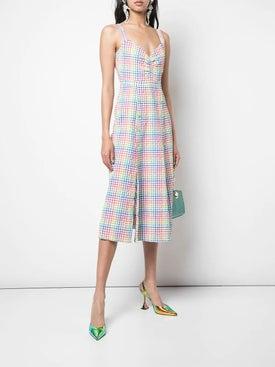 Saloni - Anya Rainbow Gingham Dress - Mid-length