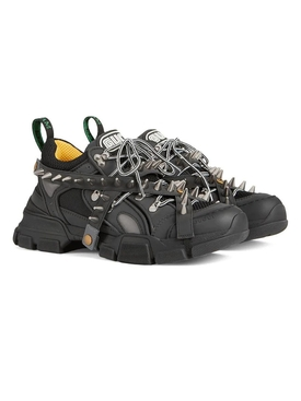 Black embellished flasktrek sneakers