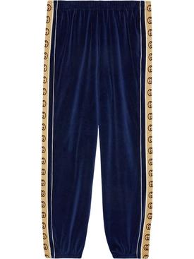 Loose chenille jogging pant BLUE