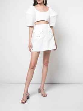 Ellery - Bubble Crop Top White - Cropped