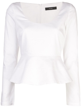 Ellery - Manzoni Long Sleeve Peplum Top White - Women