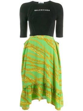 Balenciaga - Contrast Logo Dress Multicolor - Women