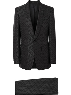 English Fit Monogram Wool Blend Jacquard Tuxedo
