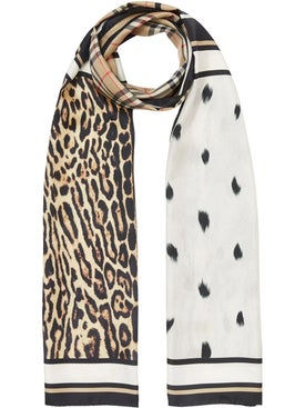 Burberry - Vintage Check And Animal Print Silk Scarf - Women