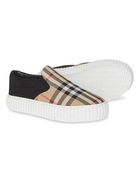 Beige check print slip on sneakers