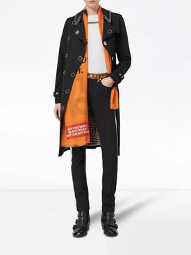 Burberry - Horseferry Print Lightweight Wool Silk Scarf Orange - Women