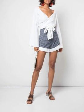 Sara Battaglia - Wrap Front Crop Top - Long Sleeved
