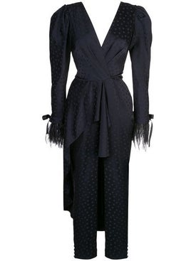 Johanna Ortiz - Feather Trim Draped Jumpsuit - Women