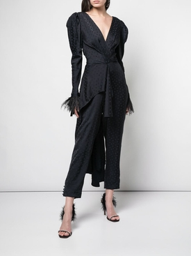 feather trim draped jumpsuit BLUE