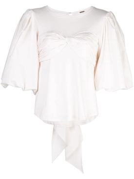 Idyllio ruched puff-sleeve blouse WHITE