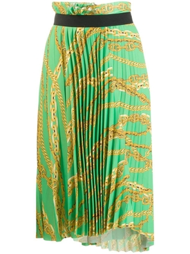 asymmetrical pleated chain-print skirt