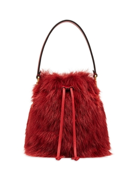 Red fur mini mon tresor bucket bag