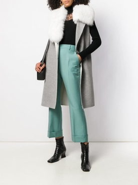 aquamarine cropped tailored trousers