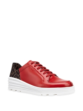 FF motif lace-up sneakers RED